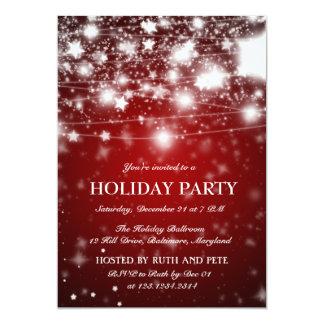 Elegant Red Christmas Party Shining Stars 13 Cm X 18 Cm Invitation Card