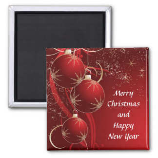 Elegant Red Christmas Square Magnet