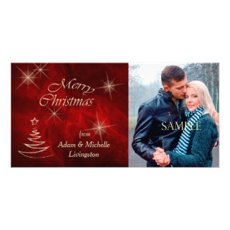 Elegant Red Christmas Tree Personalised Photo Card