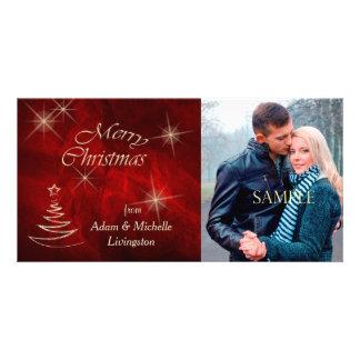 Elegant Red Christmas Tree Personalised Photo Card