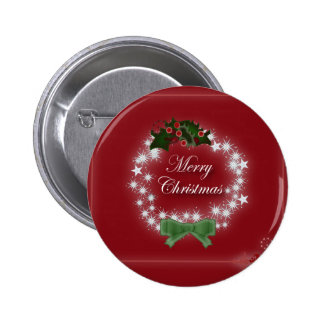 Elegant Red Christmas Wreath 6 Cm Round Badge