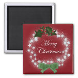 Elegant Red Christmas Wreath Square Magnet
