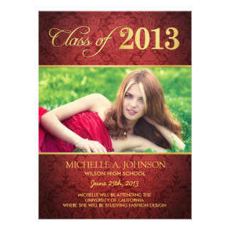 Elegant Red Damask Class of 2013 Announcement
