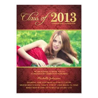 Elegant Red Damask Class of 2013 Graduation 14 Cm X 19 Cm Invitation Card