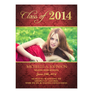 Elegant Red Damask Class of 2014 Announcement