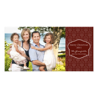 Elegant Red Damask Photo card
