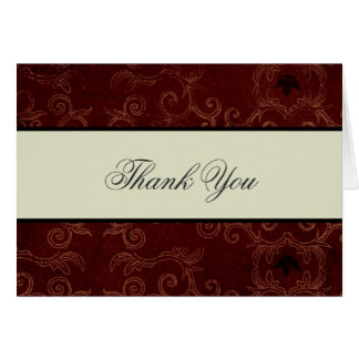Elegant Red Damask Thank You Card