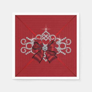 Elegant Red Diamond Bow Paper Napkin