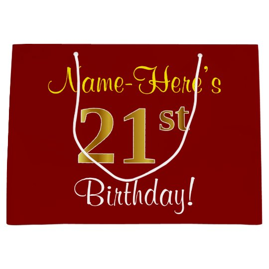Elegant Red Faux Gold 21st Birthday Custom Name Large Gift Bag