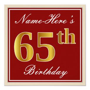 Elegant Red Faux Gold 65th Birthday Custom Name Invitation