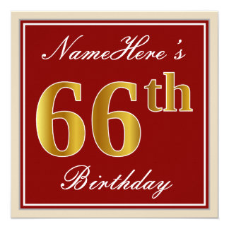 Elegant, Red, Faux Gold 66th Birthday; Custom Name Card