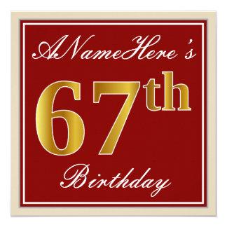 Elegant, Red, Faux Gold 67th Birthday; Custom Name Card