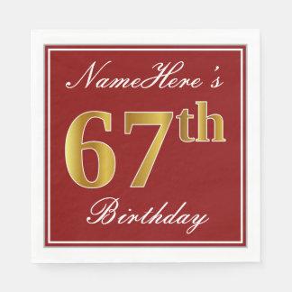Elegant Red, Faux Gold 67th Birthday + Custom Name Disposable Napkin