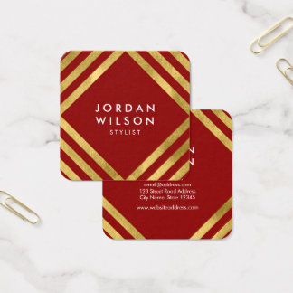 Elegant Red Faux Gold Square Lines Geometric Square Business Card