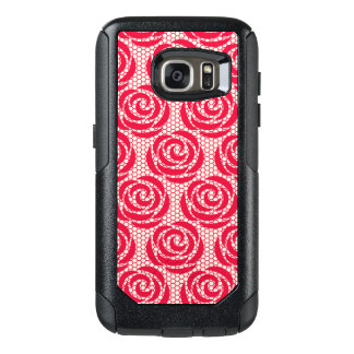 Elegant Red Floral Lace Pattern OtterBox Samsung Galaxy S7 Case