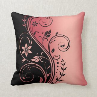 Elegant Red Floral Scroll Black Pillow Cushions