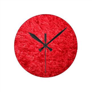 Elegant Red Fur Round Clock
