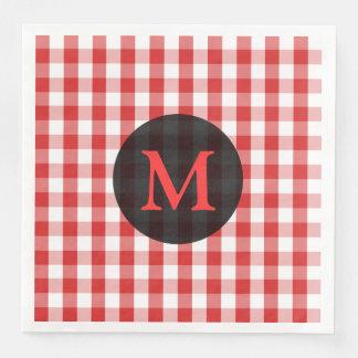 Elegant Red Gingham Pattern Personalized Monogram Paper Napkin