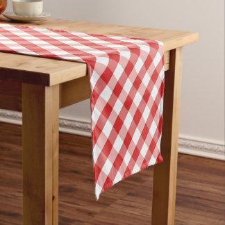 Elegant Red Gingham Pattern Short Table Runner