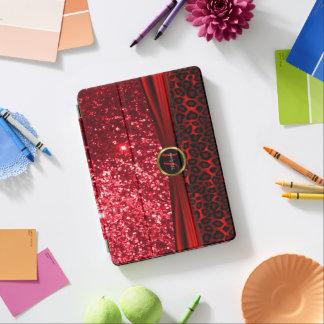 Elegant Red Glitter and Leopard Skin iPad Pro Cover