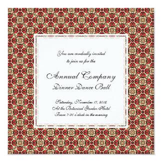 Elegant Red, Gold and Black Oriental Damask 13 Cm X 13 Cm Square Invitation Card