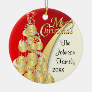 Elegant Red, Gold and White Christmas | DIY Photo Christmas Ornament