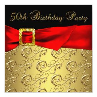 Elegant Red Gold Black Womans 50th Birthday Party 13 Cm X 13 Cm Square Invitation Card