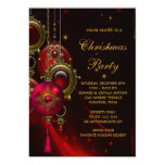 Elegant Red Gold Christmas Holiday Party Custom Invites