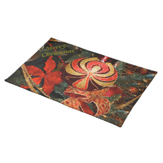 Elegant Red Gold Christmas Ornament Poinsettia Placemats