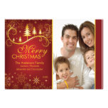 Elegant Red Gold Christmas Tree Holiday Photo Card Personalized Announcement