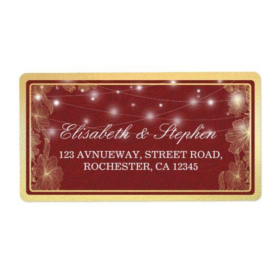 Elegant Red & Gold Floral Frame Wedding Address Shipping Label