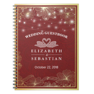 Elegant Red & Gold Floral Frame Wedding Guestbook Notebooks
