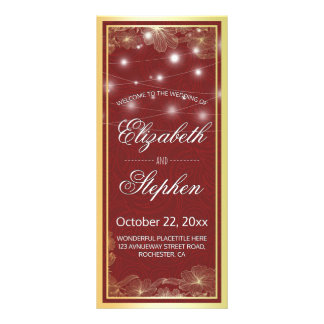 Elegant Red & Gold Floral Frame Wedding Program Rack Card