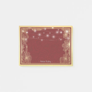 Elegant Red & Gold Floral Frame Wedding Shower Post-it Notes