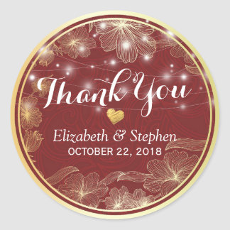 Elegant Red & Gold Floral Frame Wedding Thank You Classic Round Sticker