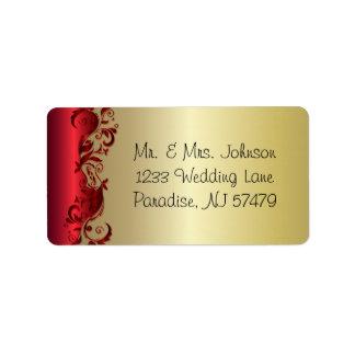 Elegant Red & Gold Florid Wedding Design Address Label