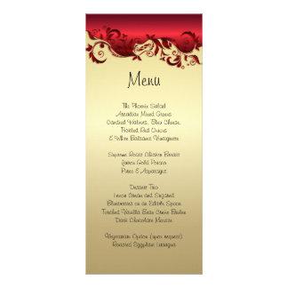 Elegant Red & Gold Florid Wedding Design Rack Card Design