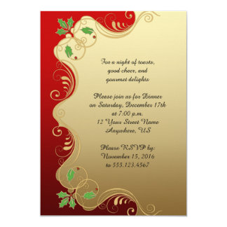 Elegant Red Gold Green Holly Christmas Party 13 Cm X 18 Cm Invitation Card