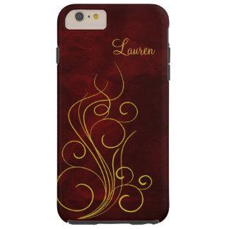 Elegant Red Gold Swirl Tough iPhone 6 Plus Case