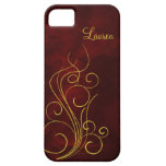 Elegant Red Gold Swirl iPhone 5 Covers