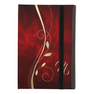 Elegant Red Gold Swirl Leaf Monogram iPad Mini 4 Case