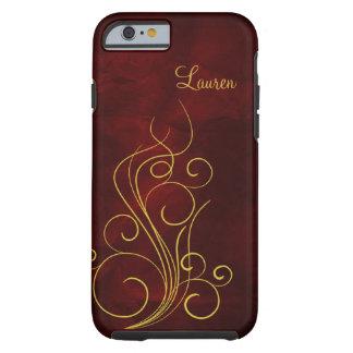 Elegant Red Gold Swirl Tough iPhone 6 Case