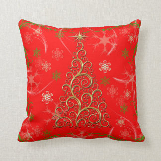 Elegant Red Gold Swirls Christmas Holiday Pillow