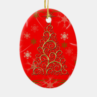 Elegant Red Gold Swirls Christmas Tree Ornament