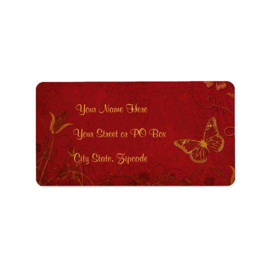 Elegant Red & Gold Vintage Butterflies Address Label
