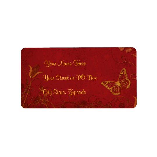 Elegant Red & Gold Vintage Butterflies Label