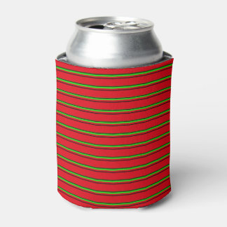 Elegant Red Green Black Stripe Holiday Specific Can Cooler