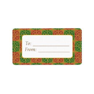 Elegant Red Green Fleur de Lis Gift Tag Labels