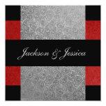 Elegant Red & Grey Paisley Engagement Party 13 Cm X 13 Cm Square Invitation Card