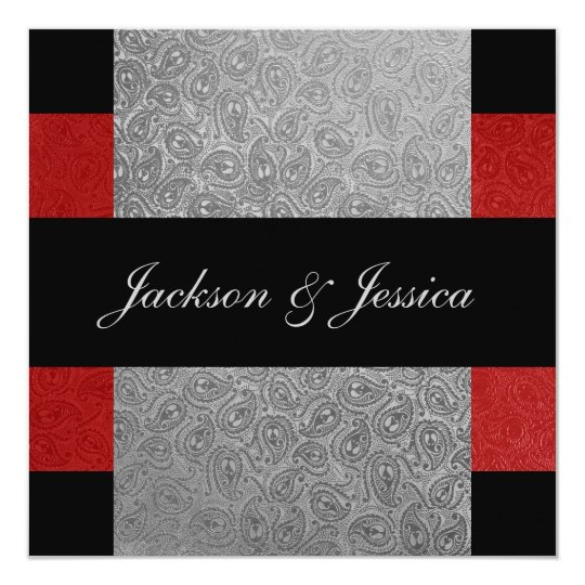 Elegant Red & Grey Paisley Engagement Party Card